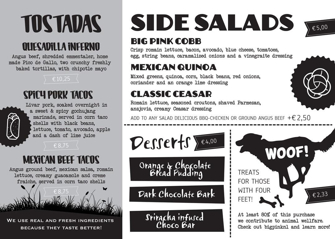 Big Pink menukaart foodtruck