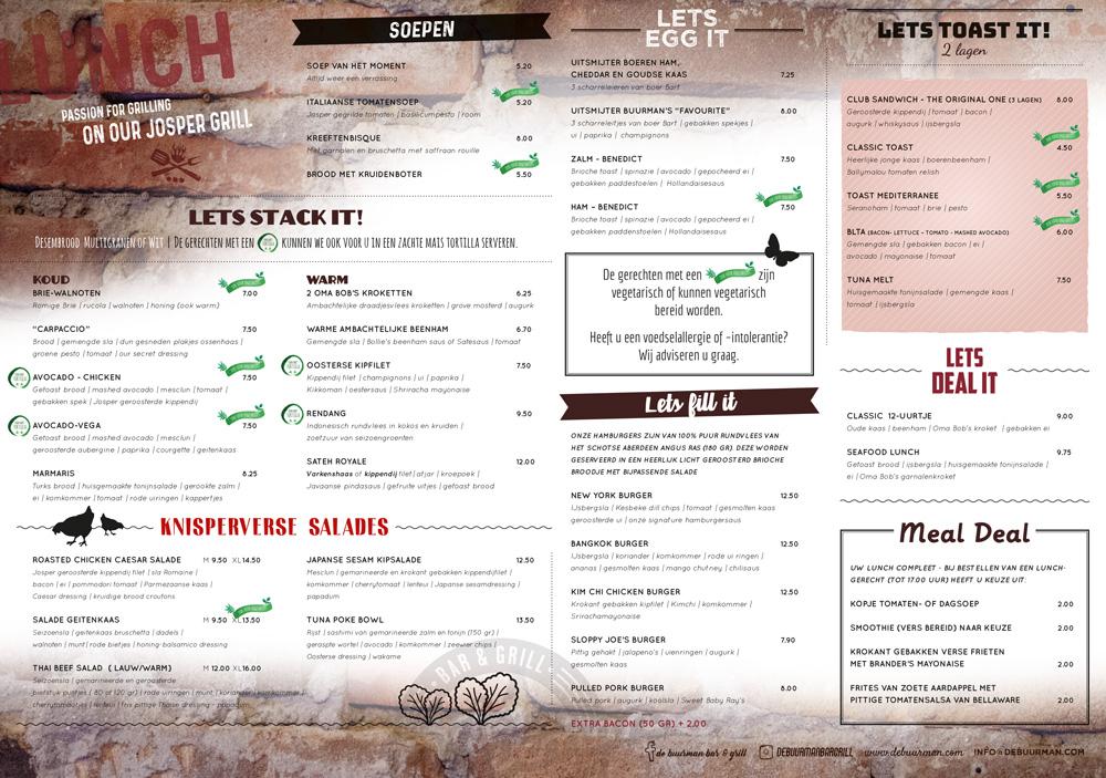 Buurman ontwerp uitingen lunchkaart