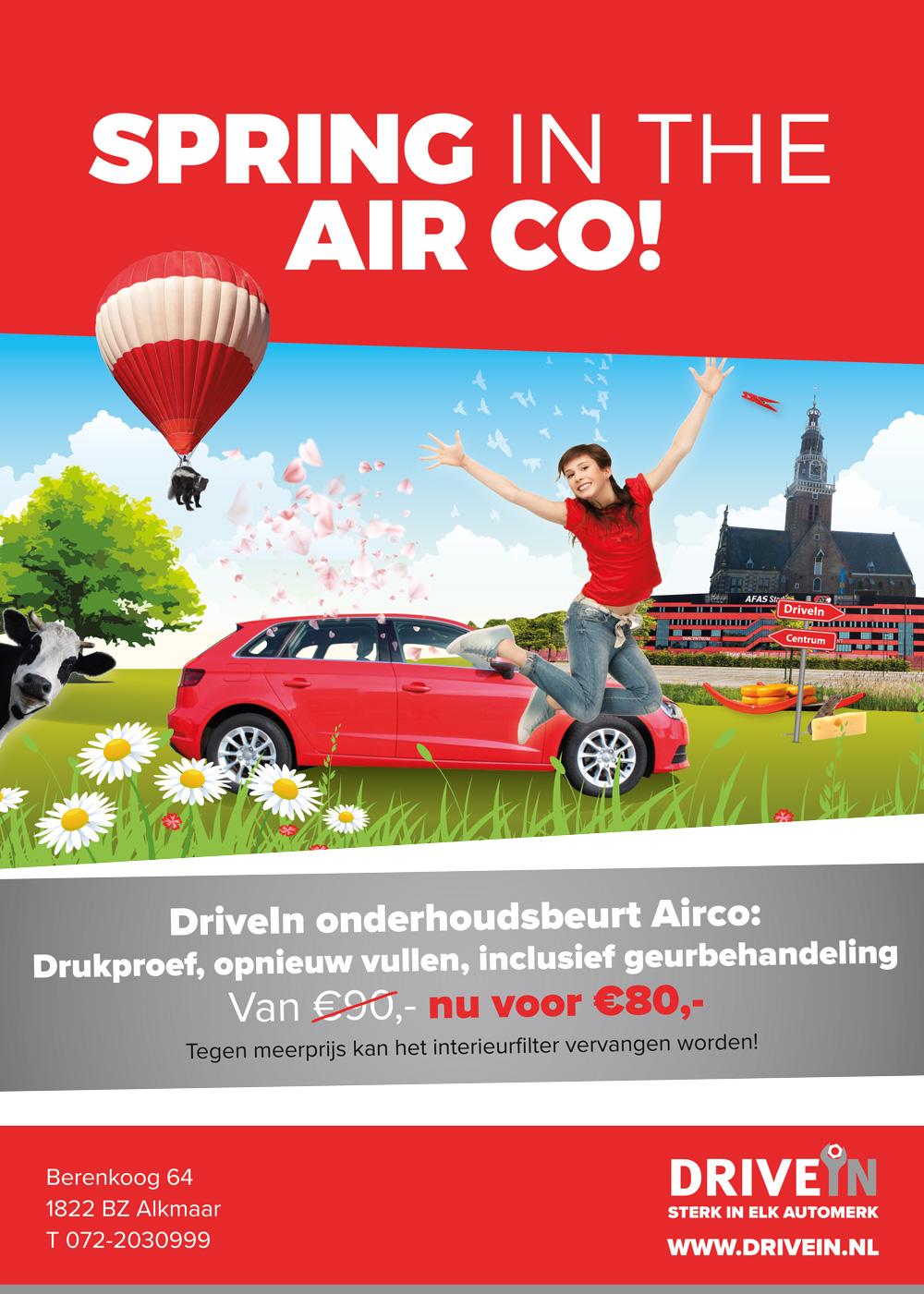 DRIVE IN concept en ontwerp actie spring in the airco