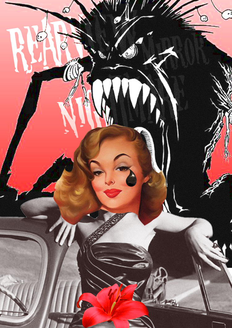 Tante Pee zelfportret collage Review Mirror Nightmare